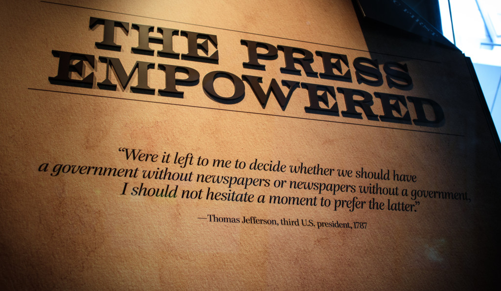 Quote from Thomas Jefferson in the Newsium in Washington, DC